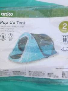 Camping stuff : popup tent, gas cooker, air mattress, plastic box