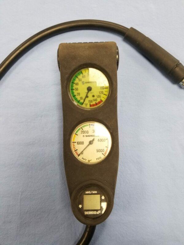 Vintage Sherwood PSI and Depth Gauge Console