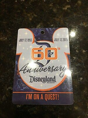 Disneyland 60th ANNIVERSARY JULY 17 1955 I'M ON A QUEST 15 Pin Lanyard card only