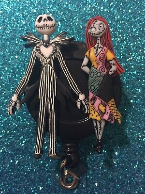 Disney The Nightmare Before Christmas Jack And Sally Retractable Badge Holder