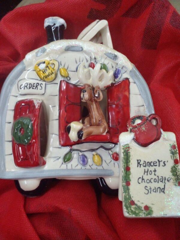 Blue Sky Clayworks Ceramic Tea Light Candle Heather Goldminc Reindeer Village