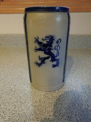 Lowenbrau-look Vintage 1967 German Stoneware Beer Stein Mug 7 1/2 In Tall 1L