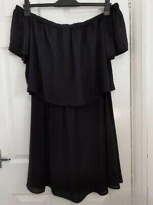 LADIES ASOS OFF THE SHOULDER CHIFFON LAYERED LITTLE BLACK DRESS PLUS SIZE 20