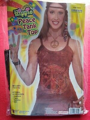 Womans Hippie Peace Tank Top Adult Halloween Costume