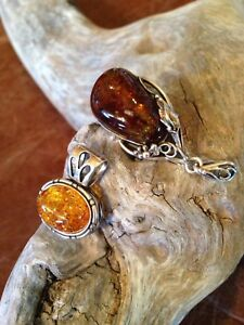 Vintage Amber Necklace and 2 Amber Pendants