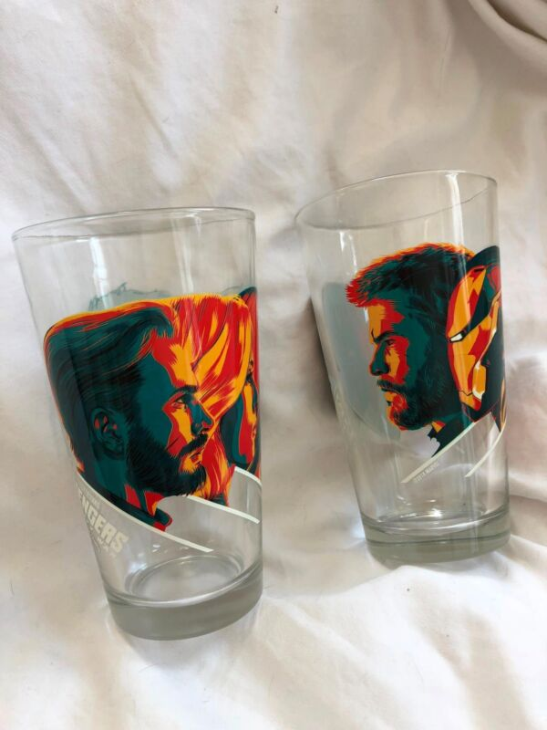 AVENGERS INFINITY WAR MONDO EXCLUSIVE PINT GLASSES SET OF 2 RARE LIMITED