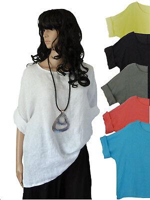 EG 42 44 46 48 Bluse Leinenbluse Shirt Leinentunika Kurzambluse Farbauswahl  - Leinen Bluse Shirt