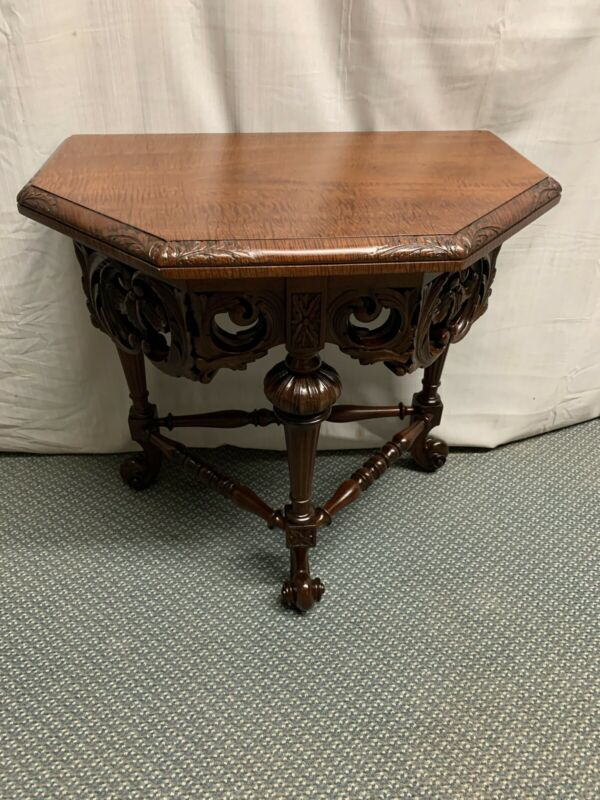 Antique Vintage Heavily Carved Solid Wood Mahogany Side End Table