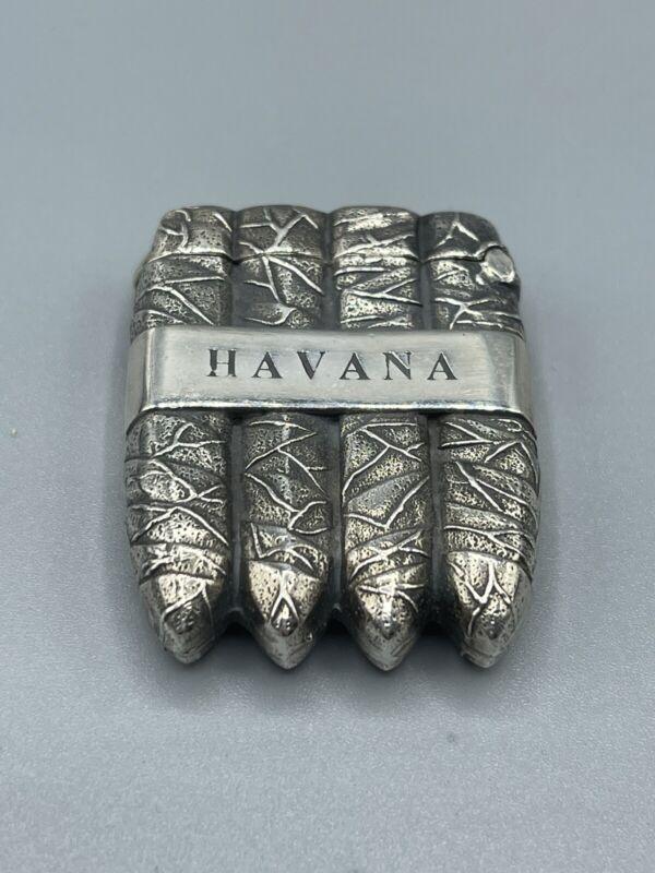 Vintage Hallmarked Solid Sterling Silver Novelty Cigar Vesta Case
