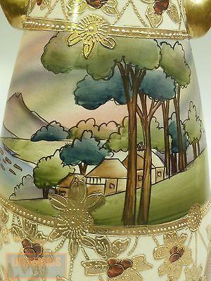 NIPPON MORIAGE LANDSCAPE VASE ART NOUVEAU HAND PAINTED c.1900 JAPAN Nippon Art