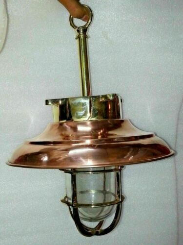 SOLID BRASS EXTERIOR PENDANT BULKHEAD LIGHT STYLE COPPER SHADE - LARGE