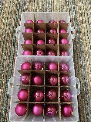 Pink Glass Ball Christmas Ornaments, Martha Stewart Brand