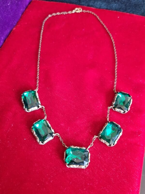Edwardian Austrian Green Glass Necklace 16.5inches