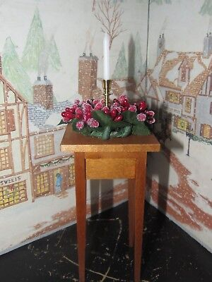 BYERS CHOICE Fall Open House Christmas Table w Candle and Holly Berries 2017