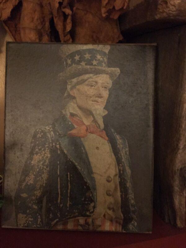 Primitive handmade Americana Uncle Sam Reproduction Canvas Print