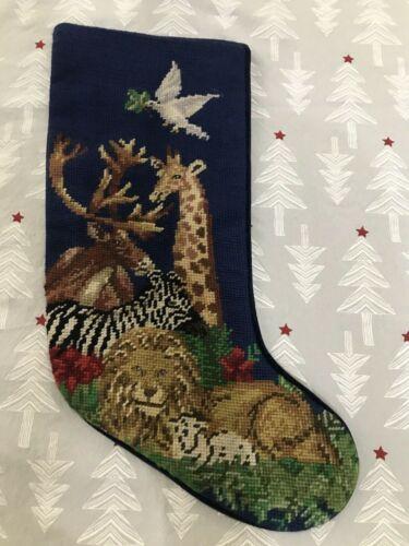 needlepoint christmas stocking Lion Lamb