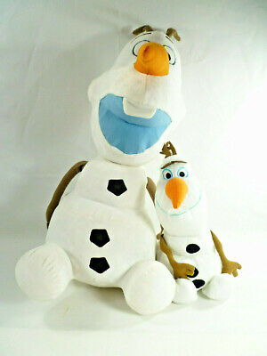 "Lot of 2 Disney Frozen Olaf Stuffed Plush Cuddle Jumbo 22"" and 12"" Snowman Toy"