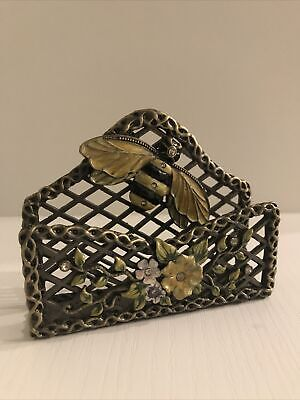 Decorative Jewelled Painted Bee Flower Business Card Holder Metal
