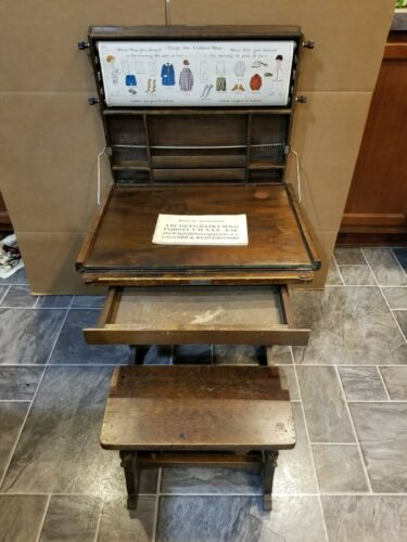 ANTIQUE WOOD CHAUTAUQUA INDUSTRIAL ART DESK LEWIS MYERS STAND CHAIR COMPLETE