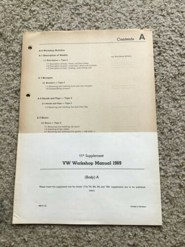 1969 VW workshop manual 11th. Supplement body AIncert.