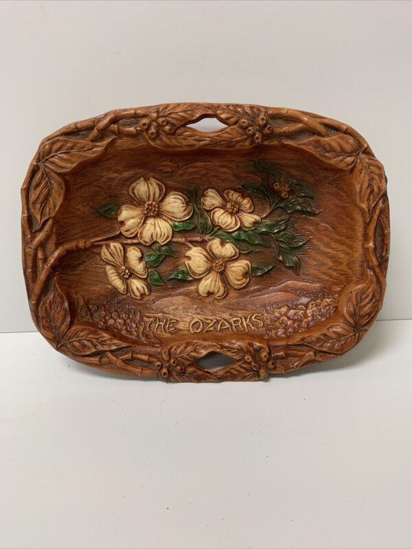 Vintage The Ozarks Souvenir Bowl Faux Wood Dogwood Flowers Mid Century Travel