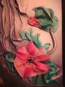 Flower painting on leather from Art Gallery in Europe $35