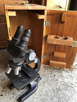 Vintage Spencer Binocular Microscope 4 Objectives With Case.