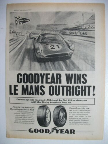 1965 GOODYEAR WINS LEMANS WITH SHELBY FORD GT BRITISH MAGAZINE ADVERTISEMENT