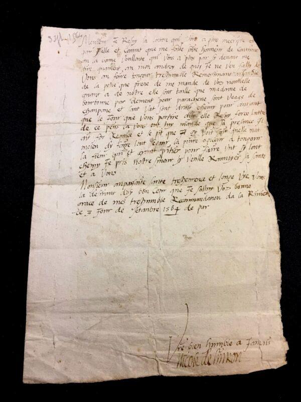 OLD LETTER 1564 Madame de Bourbon