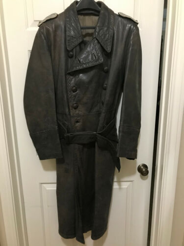 WW2 German Wehrmacht Officers Leather Overcoat with Insignia, Gray Size Medium