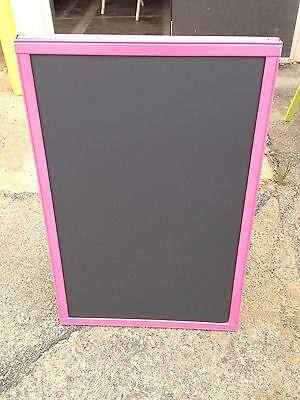 Sidewalk Announcement Black Chalkboard Easel Pink Hardwood Frame 24 X 36 Menu