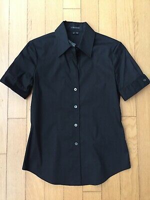 NWT THEORY Black short sleeve button down stretch cotton shirt P xs