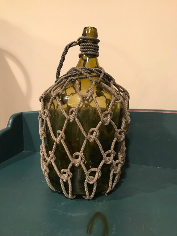 Vintage Rope Covered Large Bottle