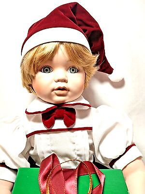 """Dynasty Collection Vintage Michaels First Christmas 10"""" Sitting Porcelain Doll"""