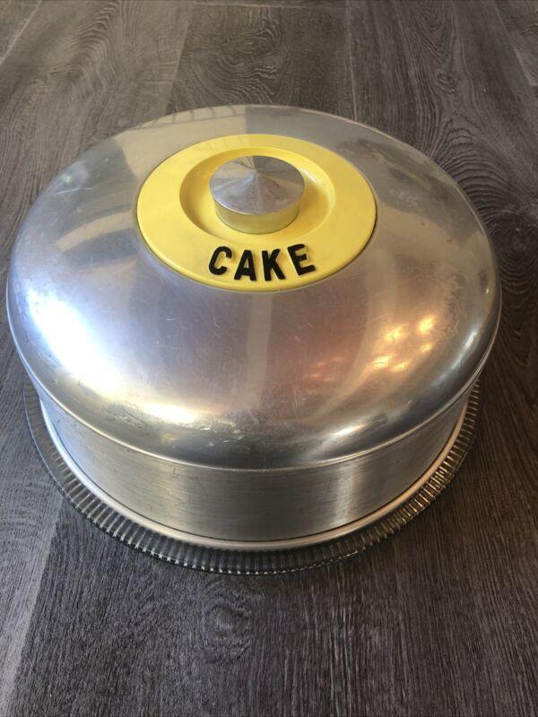 Vintage 1950's Kromex Yellow Cake Carrier