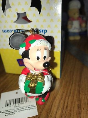 VINTAGE DISNEY MINNIE MOUSE SANTA HAT HOLDING GIFT CHRISTMAS ORNAMENT NWT