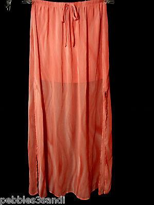 New HIP Chiffon Skirt Sm Coral Pink Maxi w/ mini liner HOT Floor Length Beachy