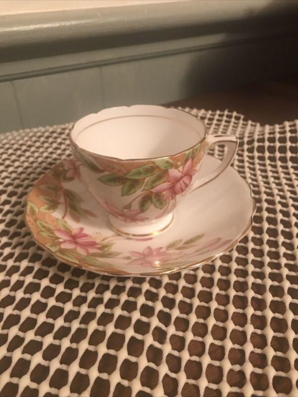 Vintage Queens Rosina Bone China Pink Flowers #4943 Cup & Saucer, Demitasse