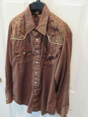 1970s Mens Shirt Styles – Vintage 70s Shirts for Guys VTG 1970's Sears Western Wear Pearl Snap Embroidered Yoke & Cuff Shirt sz Large $39.99 AT vintagedancer.com
