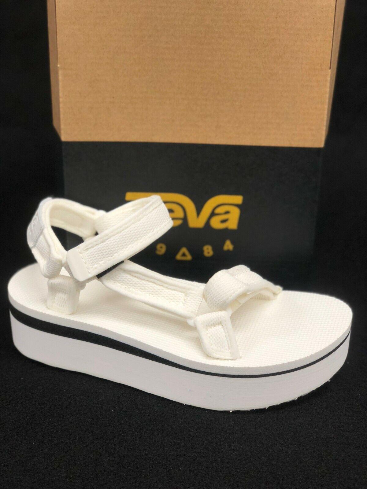Teva Women's Flatform Universal Mesh Print Platform Sandals Bright White 1102451