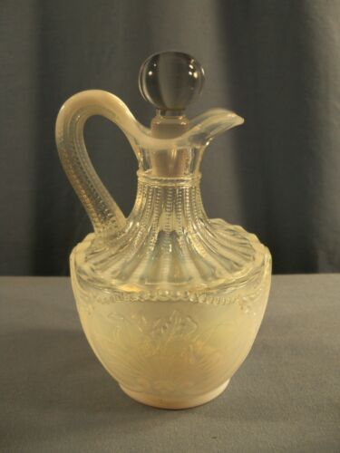 Northwood WILD BOUQUET White French Opalescent Glass Cruet