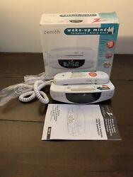 Zenith Wake Up Minder Telephone Alarm Clock Radio Sound Therapy Z812W New Open E