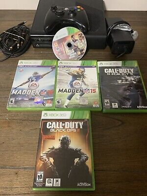 Microsoft Xbox 360 E Console 500GB Black with Controller and 5 Games,  TESTED!!!