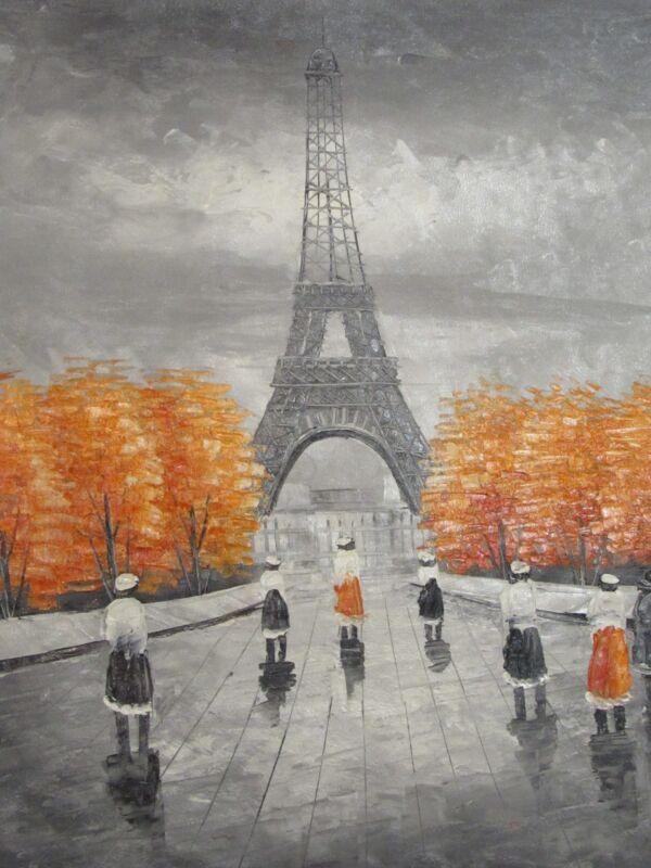 paris+black+white+red+trees+large+oil+painting+canvas+france+cityscape+original