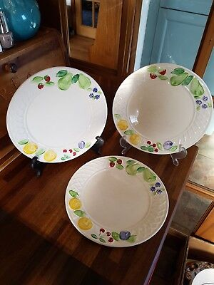 3 x Vintage Wade Fruits Side Plates - Relief 3D Design - Well Used