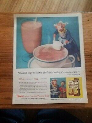 1956 Borden's Dutch Chocolate Milk Vintage Magazine Ad