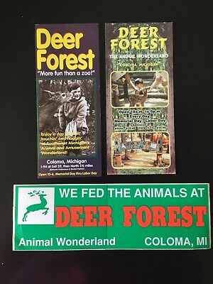 Vintage Deer Forest Brochure, Bumper Sticker, Info Card in Coloma, Michigan