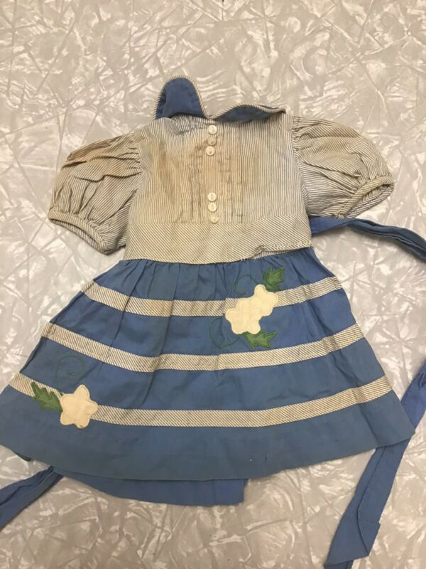 Vintage Baby Doll Dress Ideal Vogue Bisque Effanbee French German Blue Adorable