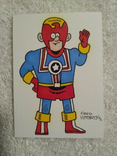 Fighting American Prize Comics Fred Hembeck Color Sketch Card 1/1 Simon & Kirby
