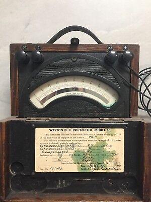 Vintage Weston D.c. Voltmeter Model 45